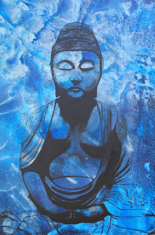 Buddha Painting; Acrylic Painting depicting the meditating buddha amongst a blue background. Art for Sale.