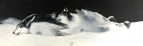 Acrylic Painting depicting a trio wolves running through snow. Art for sale.