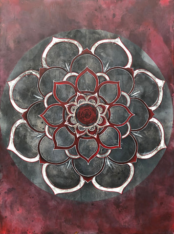 Mandala; painting; red