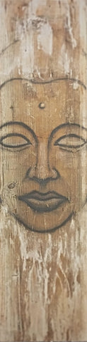 Buddha's Meditating Visage depicted on a rustic piece of aged barn wood.