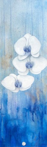 White Orchids Painting. Subtle trio of 3 Phalaenopsis orchid species set against a blue background with white and gold accents. Art for sale