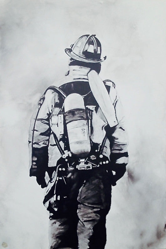 Firefighter Painting; Acrylic Black and White Original Painting depicting a sole firefighter amidst a smokey background. Art for Sale