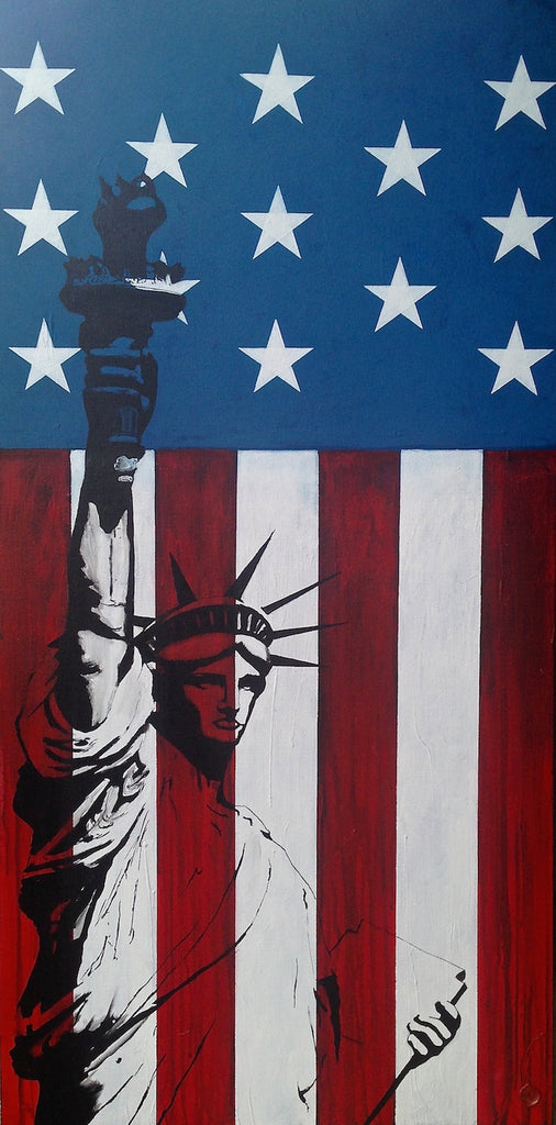 Americana Acrylic Painting; Statue of Liberty; Old Glory