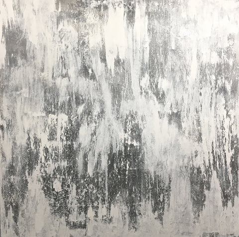 Abstract Painting, Abstract Art, Silver and White