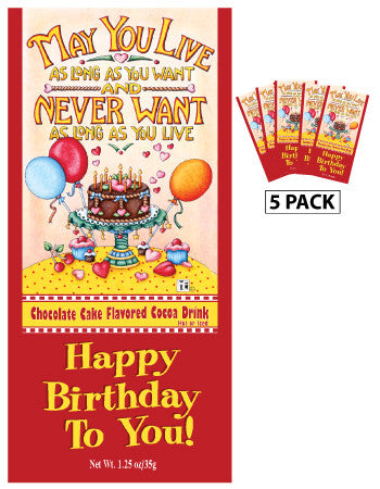 Mary Engelbreit® Birthday Cake Chocolate Cocoa (Five 1.25oz Packets) (CLOSEOUT - BEST BY APR 2021)