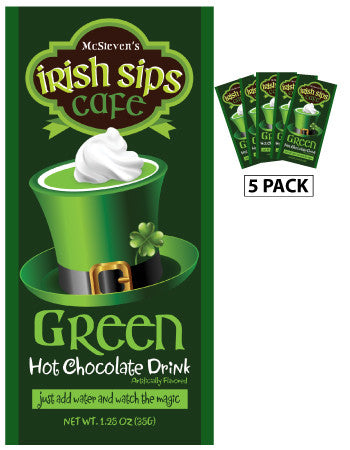 Packets St. Patrick's Day Colorful Hot Chocolate - McSteven's Irish Sips Green Hot Chocolate - 1.25 oz packets (5)