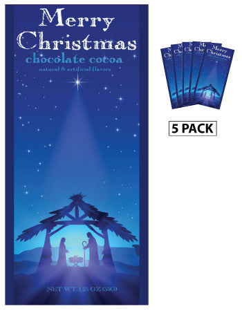 McSteven's Religious Nativity Merry Christmas Chocolate Cocoa (Five 1.25oz Packets)