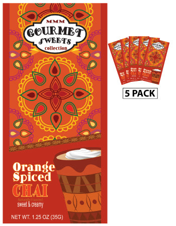 Gourmet Sweets Orange Spiced Chai (Five 1.25oz Packets) (CLOSEOUT - BEST BY JUNE 2021)