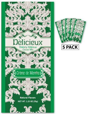 Delicieux Creme De Menthe Mint Cocoa (Five 1.25oz Packets)