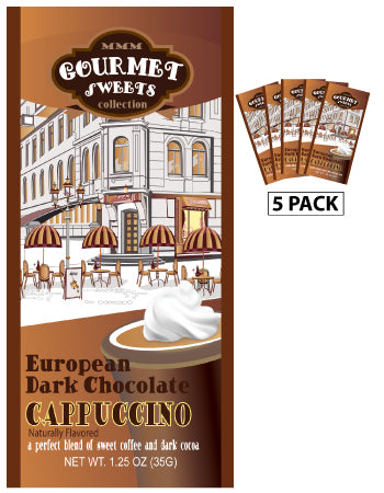 Packets All Year Cappuccino - McSteven's Gourmet Sweets Naturally Flavored Dark Chocolate - 1.25 oz packets (5)
