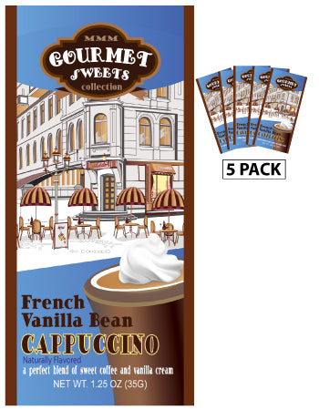 Packets All Year Cappuccino - McSteven's Gourmet Sweets Naturally Flavored French Vanilla - 1.25 oz packets (5)