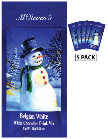 McSteven's White Christmas Snowman Belgian White Hot Chocolate (Five 1.25oz Packets)