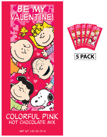 Packets Colorful Hot Chocolate - Peanuts© Valentine Pink - 1.25 oz packets (5)