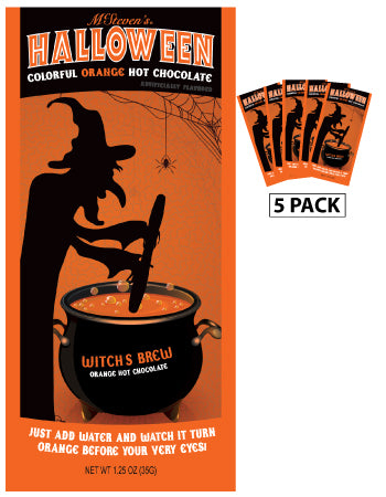 McSteven's Witch's Brew Colorful Orange Hot Chocolate (Five 1.25oz Packets)