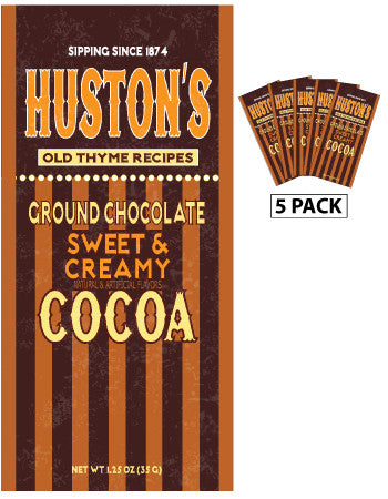 Packets All Year Cocoa - Huston's Ground Chocolate Creamy Chocolate - 1.25 oz packets (5) (CLOSEOUT - BEST BY OCT 2021)