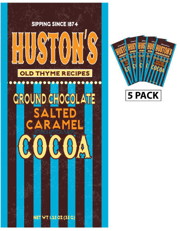 Packets All Year Cocoa - Huston's Ground Chocolate Salted Caramel - 1.25 oz packets (5) (CLOSEOUT - BEST BY NOV 2021)