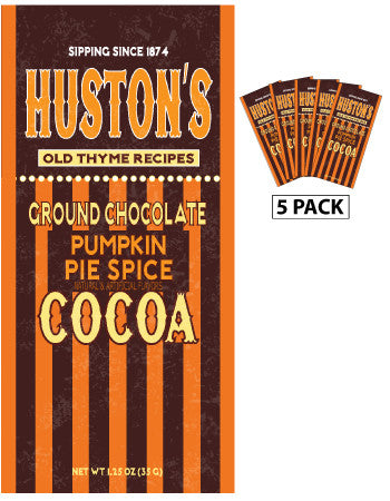 Packets All Year Cocoa - Huston's Ground Chocolate Pumpkin Pie Spice - 1.25 oz packets (5) (CLOSEOUT - BEST BY AUG 2020)
