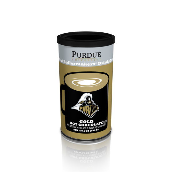 College Colors Hot Chocolate 7 oz. round - Purdue University Colorful Gold Hot Chocolate (CLOSEOUT - BEST BY FEB 2020)