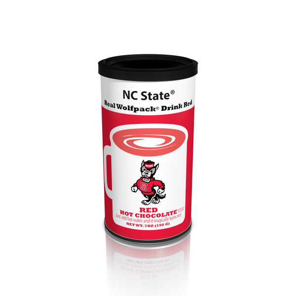 College Colors Hot Chocolate 7 oz. round - North Carolina State Colorful Red Hot Chocolate (CLOSEOUT - BEST BY MARCH 2021)
