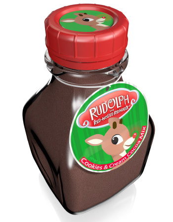 Glass Milk Jar Drink Cocoa - Rudolph The Red-Nosed Reindeer© Chocolate, Cookies & Cream - 10 oz