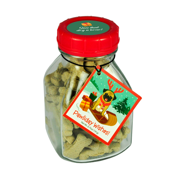 Glass Milk Jar Dog Bones - Pawliday Wishes Classic Dog Bones - 6.75 oz