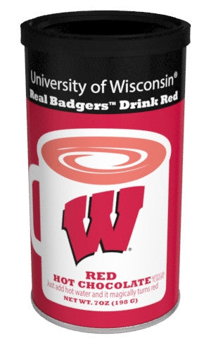 College Colors Hot Chocolate 7 oz. round -University of Wisconsin Colorful Red Hot Chocolate