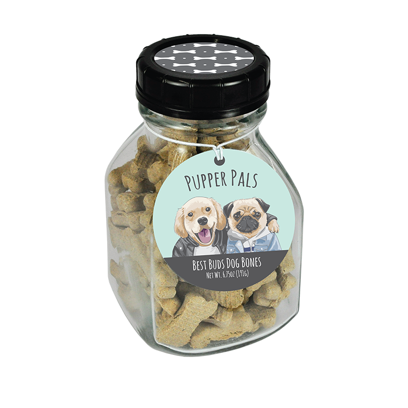 Pupper Pals Best Buds Dog Bones Jar (6.75oz Glass Milk Jar)