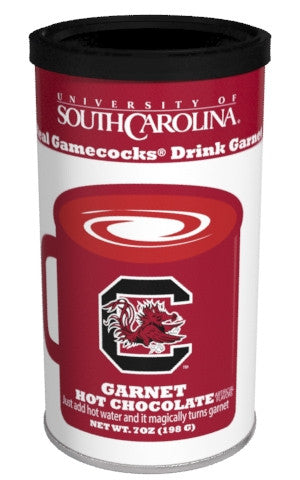 College Colors Hot Chocolate 7 oz. round - University of South Carolina Colorful Garnet Hot Chocolate