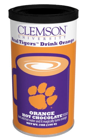 College Colors Hot Chocolate 7 oz. round - Clemson University Colorful Orange Hot Chocolate