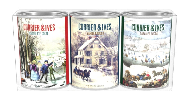 Gift Set Oval Tins Cocoa - Currier & Ives Winter Art - 3-2.5 oz oval tins
