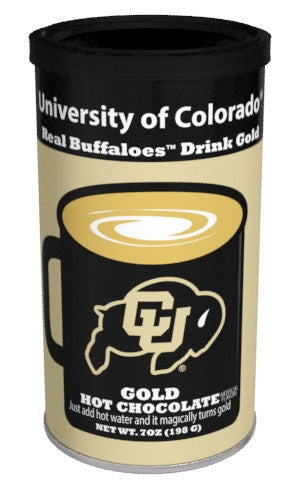 College Colors Hot Chocolate 7 oz. round - University of Colorado Colorful Gold Hot Chocolate