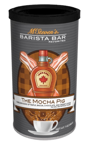 Round Canister Cappuccino - McSteven's Barista Bar Favorites Mocha Pig Maple Bacon Coffee Blend - 7 oz