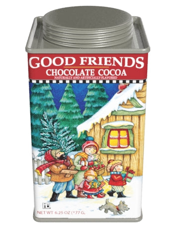 Square Tin Drink Cocoa - Mary Engelbreit® Good Friends Holiday Chocolate - 6.25 oz