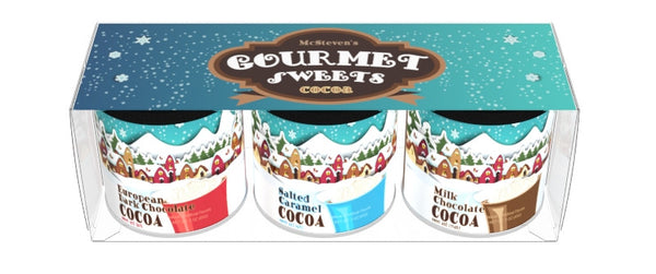 Gift Set Round Canisters Cocoa - McSteven's Gourmet Sweets Art - 3-3 oz round canisters