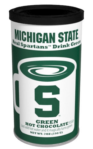 College Colors Hot Chocolate 7 oz. round - Michigan State University Colorful Green Hot Chocolate