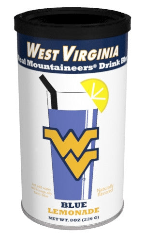 College Colors Lemonade 8 oz. round - West Virginia University Colorful Blue Lemonade
