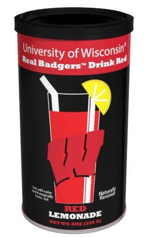 College Colors Lemonade 8 oz. round - University of Wisconsin Colorful Red Lemonade