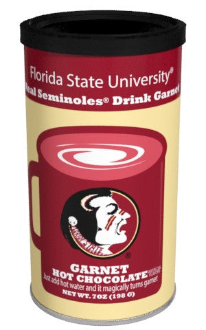 College Colors Hot Chocolate 7 oz. round - Florida State University Colorful Garnet Hot Chocolate