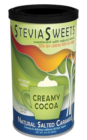 Round Canister Cocoa - McSteven's Stevia Sweets Salted Caramel - 6.6 oz (CLOSEOUT - BEST BY MARCH 2021)