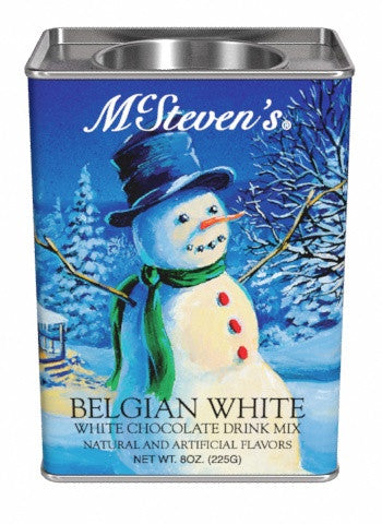 McSteven's White Christmas Snowman Belgian White Hot Chocolate (8oz Rectangle Tin)