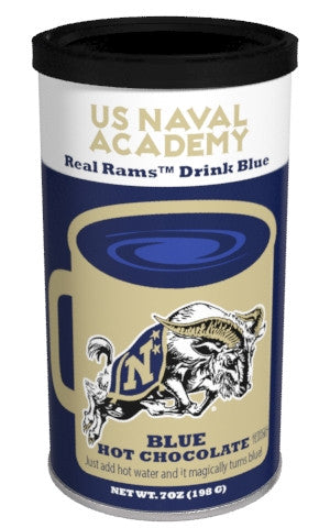 College Colors Hot Chocolate 7 oz. round - US Naval Academy Colorful Blue Hot Chocolate