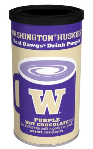 College Colors Hot Chocolate 7 oz. round -University of Washington Colorful Purple Hot Chocolate (CLOSEOUT - BEST BY NOV. 2020)