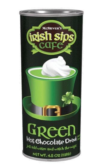 Tall Thin Oval Tin Drink Colorful Hot Chocolate - McStevens® Irish Sips Café Colorful Green White Chocolate - 4.5 oz