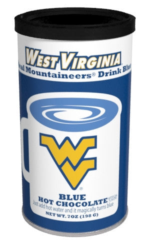 College Colors University of West Virginia Colorful Blue Hot Chocolate (7oz Round Tin) (CLOSEOUT - BEST BY MARCH 2021)