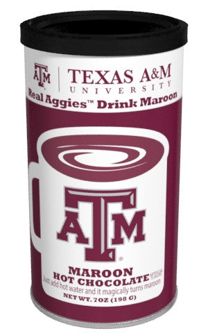 College Colors Hot Chocolate 7 oz. round - Texas A&M University Colorful Maroon Hot Chocolate