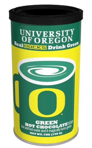 College Colors Hot Chocolate 7 oz. round - University of Oregon Colorful Green Hot Chocolate