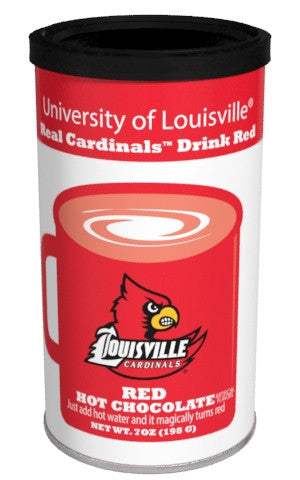 College Colors Hot Chocolate 7 oz. round - University of Louisville Colorful Red Hot Chocolate