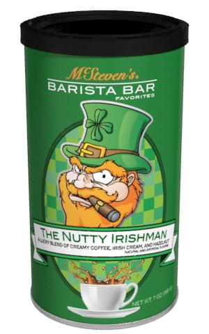 Round Canister Cappuccino - McSteven's Barista Bar Favorites Nutty Irishman Hazelnut Irish Cream Coffee - 7 oz