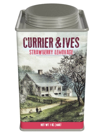 Square Tin Lemonade - Currier & Ives Art Strawberry - 7oz