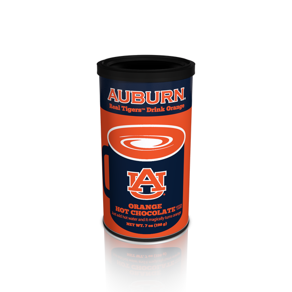 College Colors Hot Chocolate 7 oz. round - Auburn University Colorful Orange Hot Chocolate (CLOSEOUT - BEST BY NOV 2021)